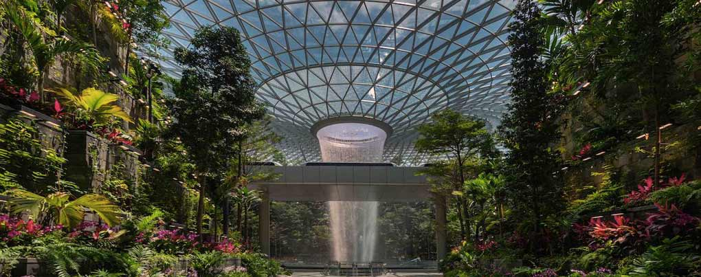 Singapore airport features world's tallest indoor waterfall