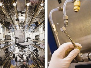 At left, a chair is tested in a dynamic environmental chamber. Sorbent tubes (at right) attach to the chamber, collecting VOCs for identification and measuring. Photos courtesy Air Quality Sciences