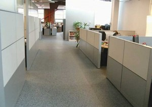 With its durable, sound-absorption qualities, recycled rubber flooring is used in many offices to create an efficient space that is slip-resistant and comfortable for both employees and visitors alike.