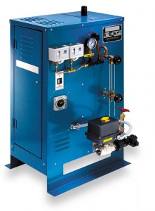This type of commercial steam generator is appropriate for spaces larger than 19 m3 (675 cf). Such facilities tend to be in operation more than six hours per day, and are designed to accommodate three or more bathers at a time.