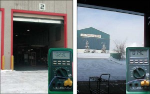 These two images illustrate the effectiveness of the air barrier in action at –23 C (–9.4 F). After one hour with the door left open, the set point temperature in the building has only dropped two degrees.