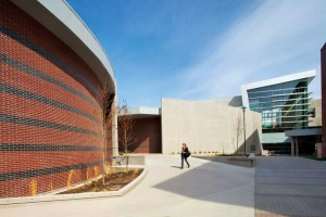 The dynamic space between the Fipke Centre and the Arts & Sciences Building—the first paired structures in the world to each receive five Green Globes.