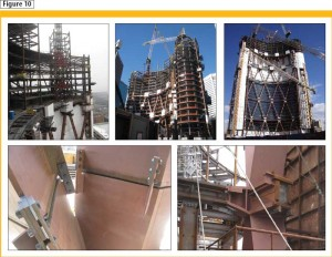 Various stages of the tower construction. Photos courtesy Walters and Yolles, A CH2M HILL Company