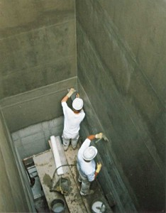 Cementitious coatings are commonly applied to water containing structures. Photo courtesy Gemite