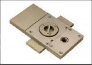 The floor box is a base plate that accepts the pivot shaft assembly. It supports the weight of the door on the ground instead of the door frame.