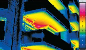 Conductive heat escapes from concrete balconies when the design does not take special measures to curtail this loss.