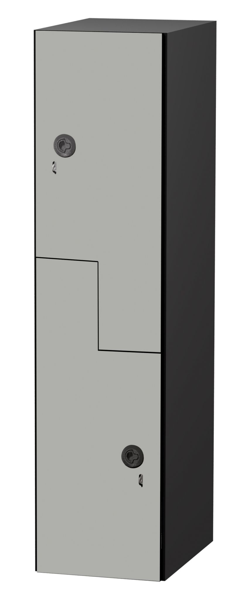 Various restroom/ change room equipment and furnishings need to be considered from a universal access mindset in terms of placement. Examples include Z-pattern phenolic lockers (1), standard recessed waste receptacles (2), recessed paper towel dispensers (3), and standard L-shaped (left or right side) phenolic shower stall seats (4).