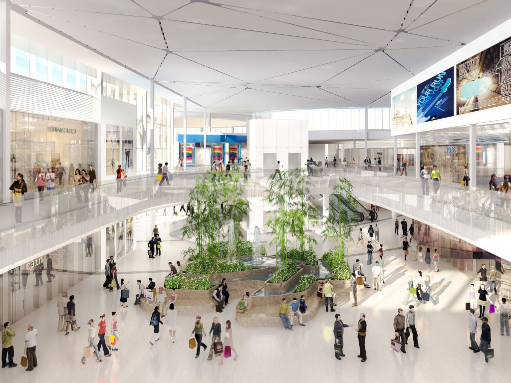On the interior, the Bamboo Court area will blend the natural serenity of an outdoor bamboo forest with the comfort of a modern indoor shopping space. The centre's interior will be divided into five themed spaces.