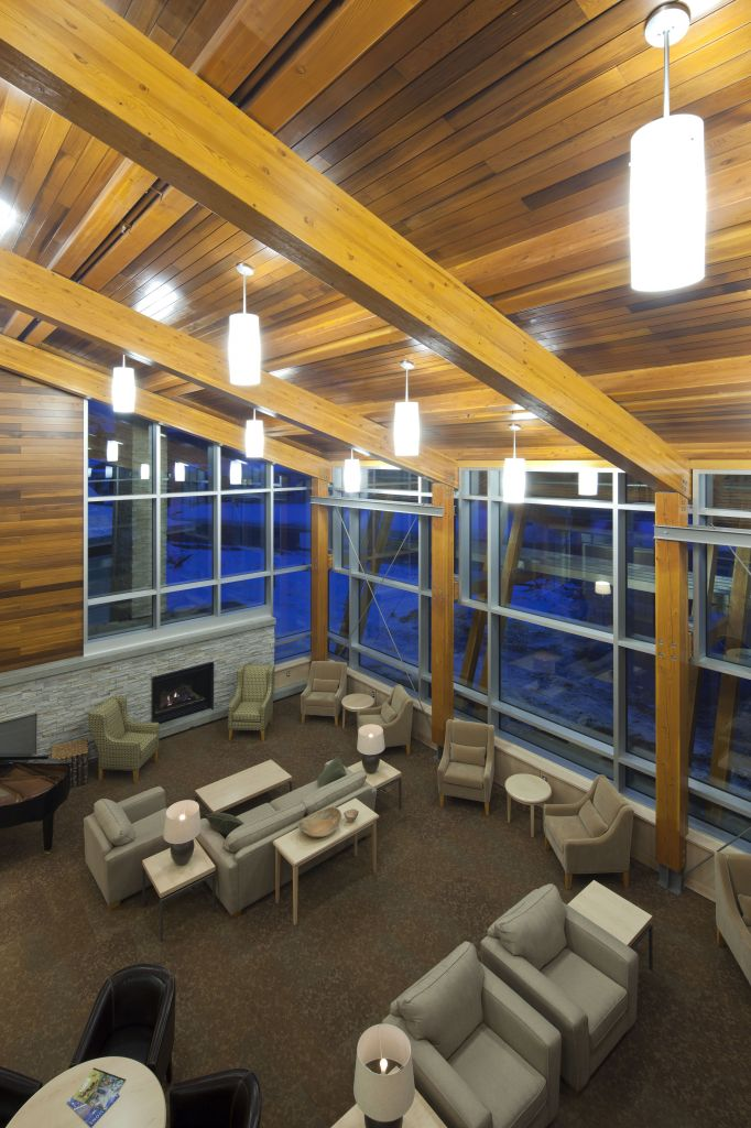 The use of wood in the Canadian Cancer Society facility provides occupants with a comfortable, residential environment.