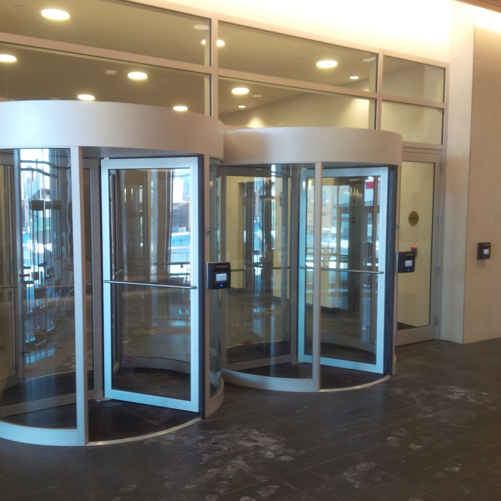 The installation includes iris scanning and biometric access control.