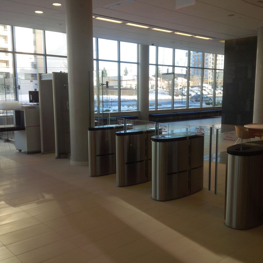 The turnstile entrance in the lobby of the FSCC facility is shown here.