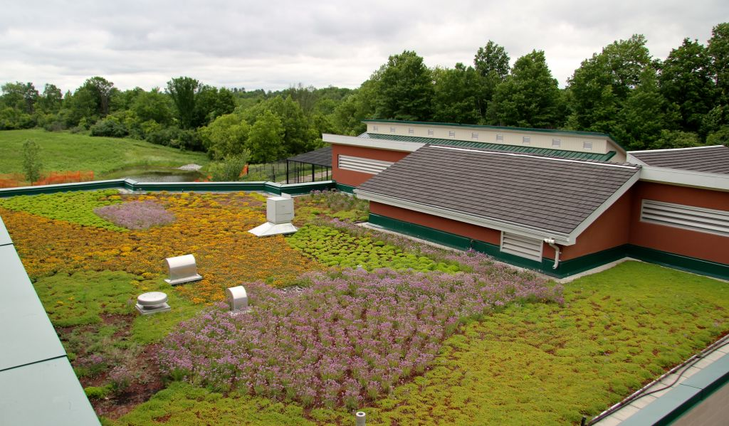 The Earth Rangers Centre for Sustainable Technology (ERC) was constructed in 2004 and included earth tube ventilation, onsite wastewater treatment, and a vegetated roofing assembly. Photo courtesy ERC