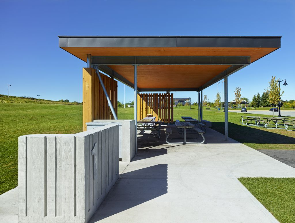 In Brampton, Ont., CLT was cantilevered in two directions for Chinguacousy Park's picnic shelter roof.