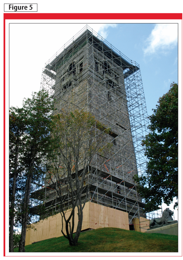The exterior of the tower was scaffolded to gain access to the upper levels, and to carry out detailed investigations.