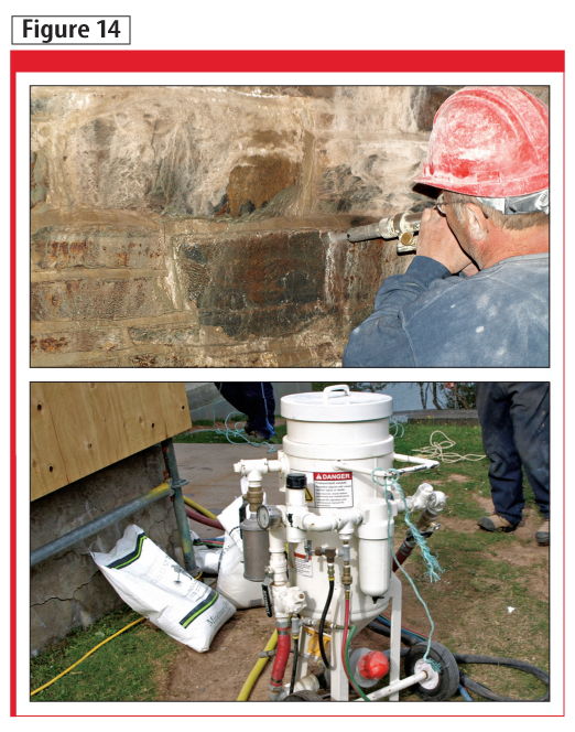 The cleaning equipment and abrasive materials for lime deposit removal trials are shown at the top. Evaluating minimum pump pressures and grade of abrasive medium is depicted in the photo at the bottom.