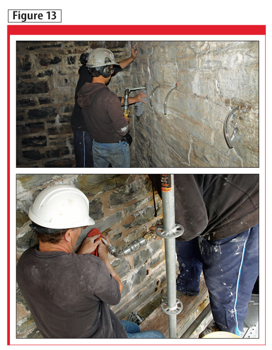 A subsequently calculated volume of grout was injected at the same location from both the interior and exterior.