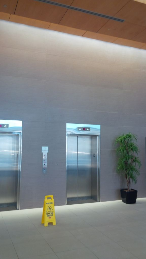 These porcelain panels in a Haligonian commercial lobby were installed via the direct-bond method. Following industry standard practices is critical for long-term success.