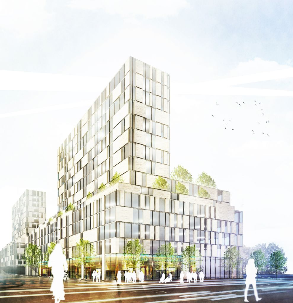 Archetypal Condominium is an intermediate-rise (i-rise) concept that was created by Quadrangle Architects for Sustainable Buildings Canada. Image © Quadrangle Architects