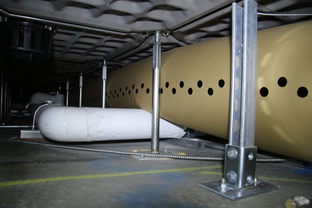 Fabric duct's inherent linear diffusion characteristics distributes air more evenly to perimeter areas that typically suffer from thermal degradation in under floor air distribution (UFAD). Photo courtesy Ductsox Corp.