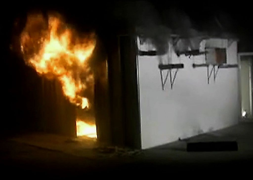 "A still image from the video, ""Close Enough is Not Good Enough: A Demonstration of Proper Vs. Improper Firestopping,"" produced jointly by UL and the International Firestop Council (IFC). The resource is available for free viewing at www.fi restop.org. Photo courtesy International Firestop Council"