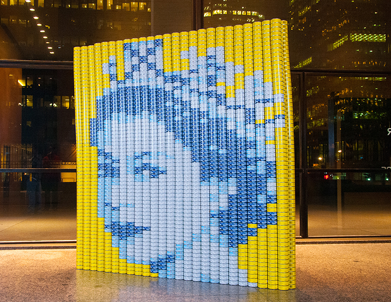"""""""A Queen's Feast,"""" created by BA Consulting Group, earned the Best Use of Labels award. In total 22,679 kg (50,000 lbs) of canned food will be donated to Toronto's Daily Bread Food Bank."""