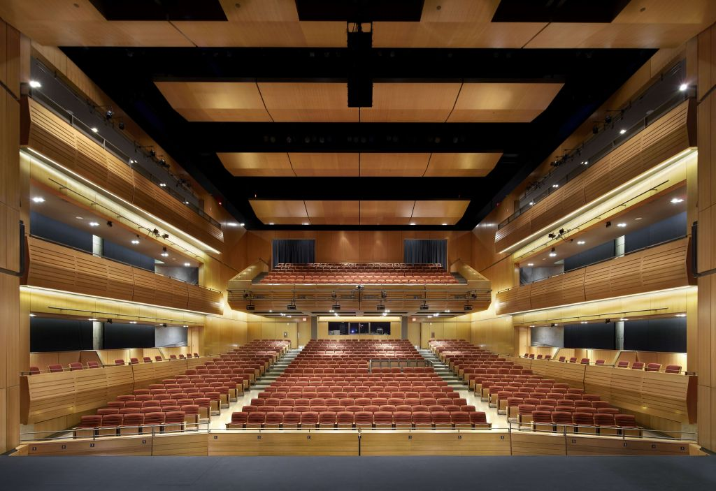 The Burlington Performing Arts Centre, a Leadership in Energy and Environmental Design (LEED) Gold-certified project, includes a 730-seat main theatre with cantilevered balconies to increase acoustical volume. Photo © Shai Gil. Photo courtesy Diamond Schmitt Architects
