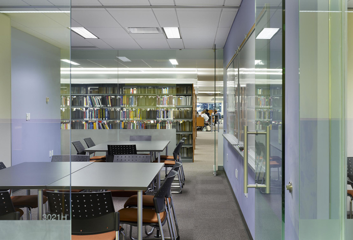 This photo shows a view through Cambrian College Learning Commons' seminar room. Photo © Tom Arban
