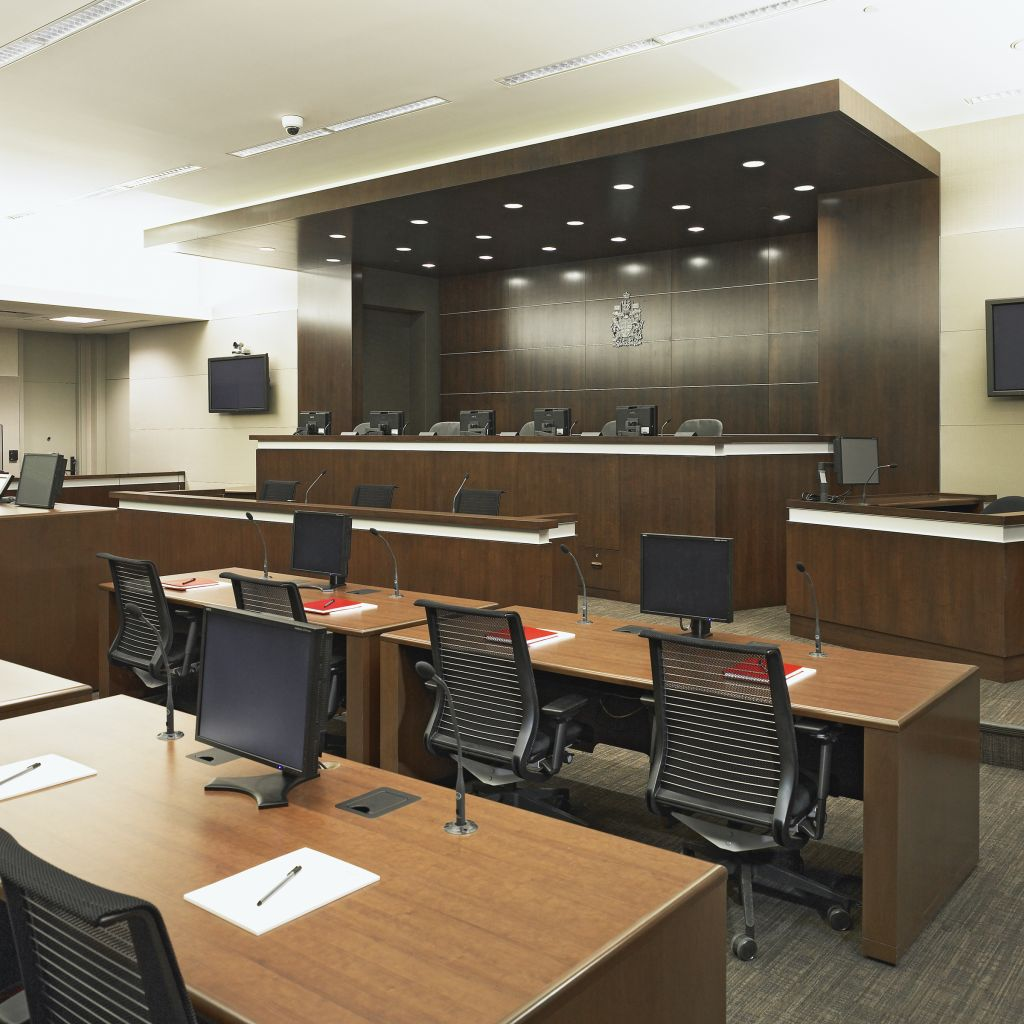 Modern technology was integrated into each courtroom to ensure fast and efficient proceedings that are accurately documented.