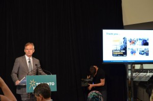 At a press conference on June 18, Toronto Hydro's president Anthony Haines discussed the Independent Review Panel's report on the company's response to the December 2013 ice storm. Photo courtesy Tanya Bruckmueller