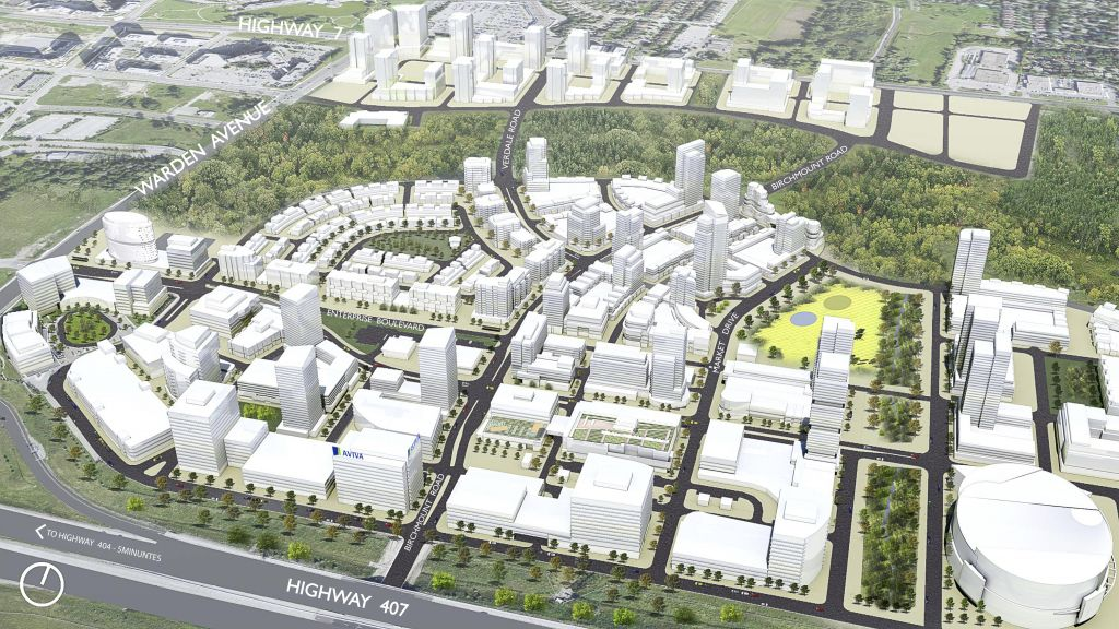 Masterplanned by Quadrangle Architects, Downtown Markham will be North America's largest community registered to the Leadership in Energy and Environmental Design (LEED) program. Image courtesy Quadrangle Architects