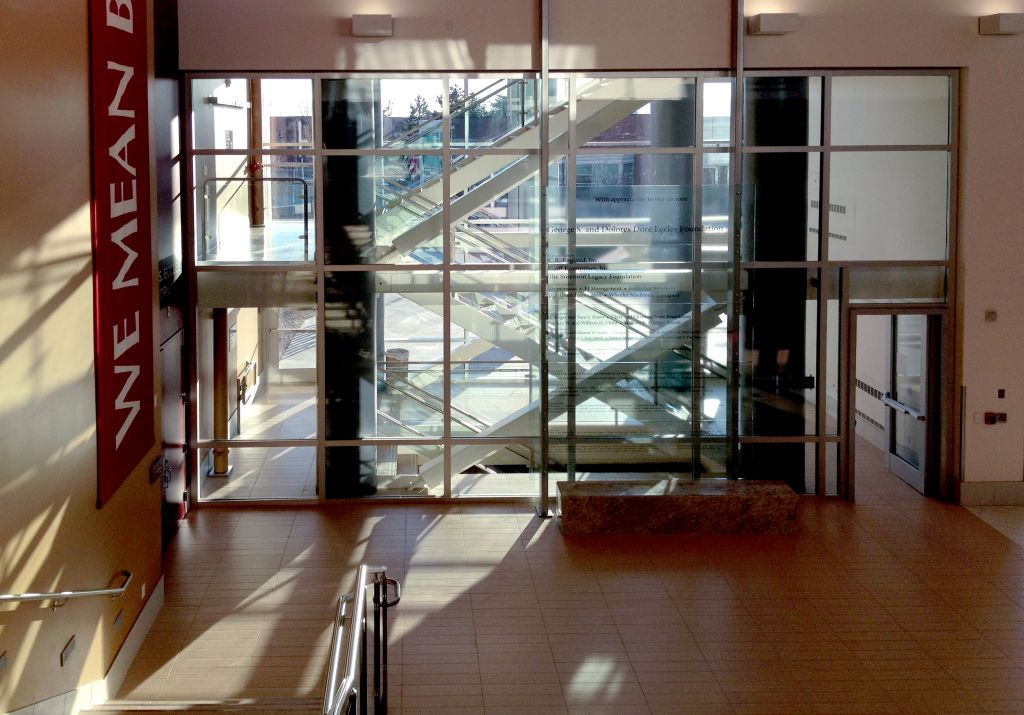 Fire-resistive glass and framing delivers both maximum fire protection and transparency to this two-hour exit enclosure.
