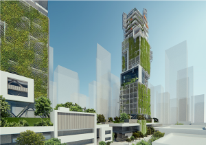 This image shows an example of an eco-effective, high-rise building prototype. Image courtesy DIALOG