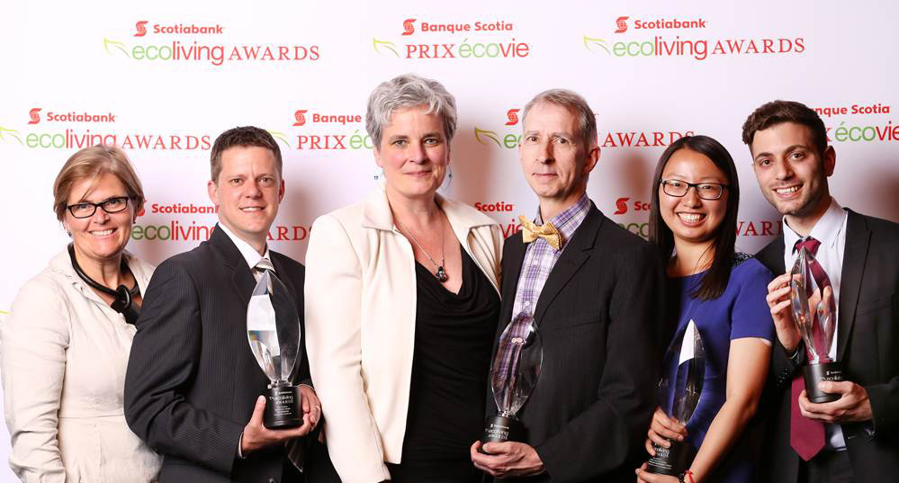 Scotiabank's Kaz Flinn (left) is pictured here with the winners of the 2014 Scotiabank EcoLiving Awards. The winners are (from left to right) Tim Johnson (EnergyMobile Studios), Jennifer Corson and Keith Robertson (Solterre Design), and Fiona Yuan and Christopher Tegho, students from McGill University. Photo © Peter Power
