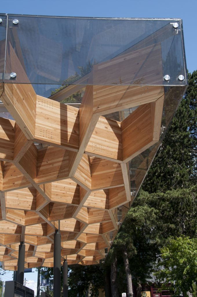 this bus shelter at the University of British Columbia (UBC) was designed by Public: Architecture + Communication. Image courtesy Tanya Luthi, Fast + Epp