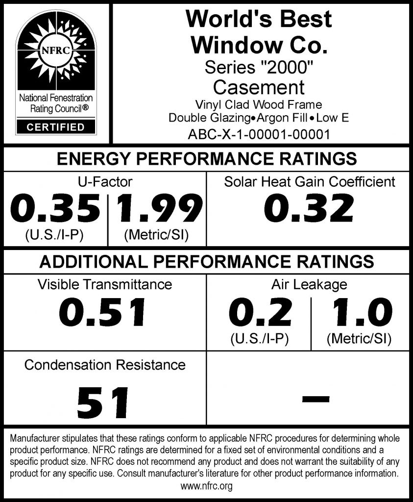 Nfrc label for construction canada construction canada for New construction windows reviews