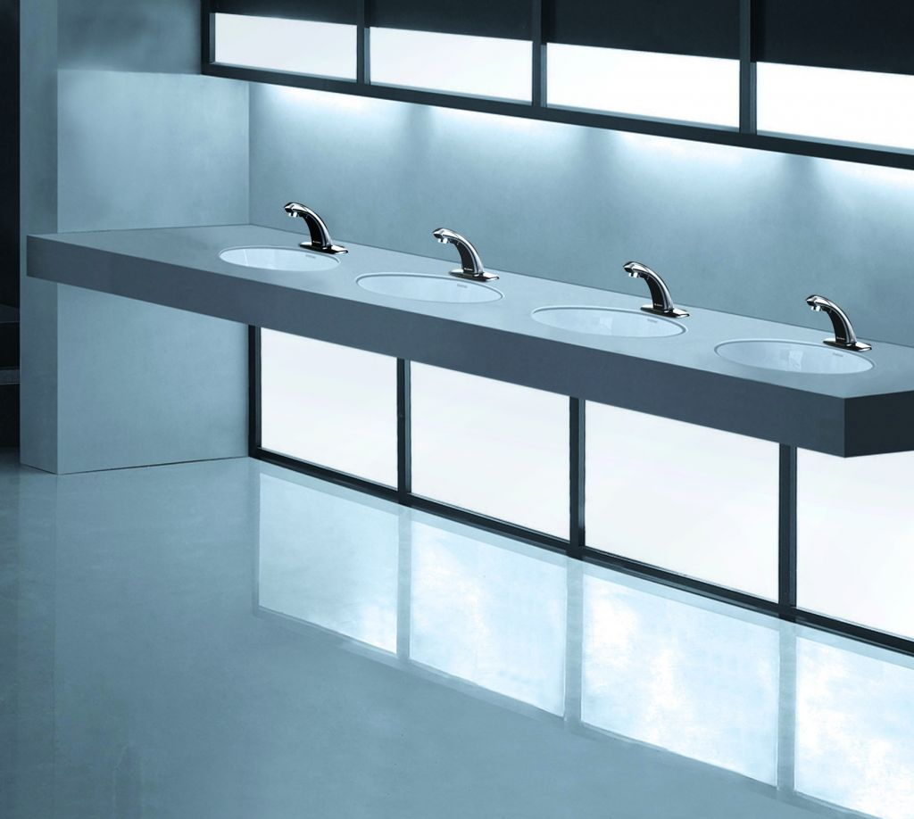 Solid-surface sinks are solid choices for commercial restrooms ...