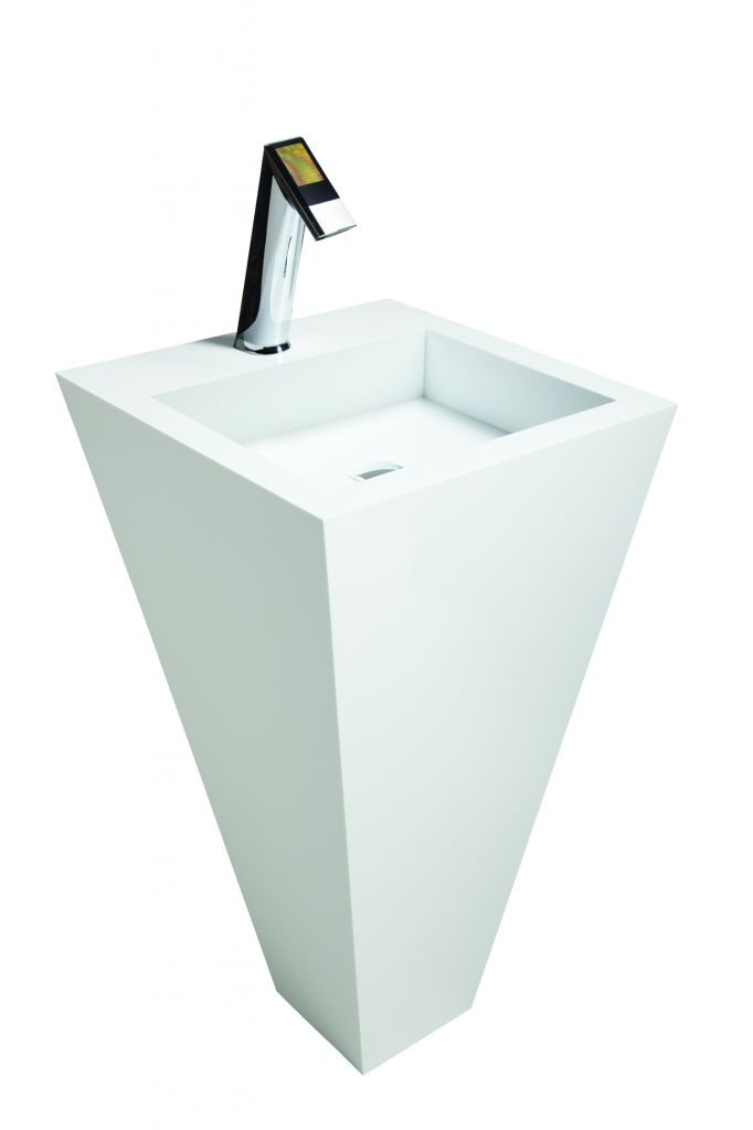 A stylish, free-standing sink, such as this one with a square basin, is suitable for hospitality suites and other light commercial applications requiring high design.