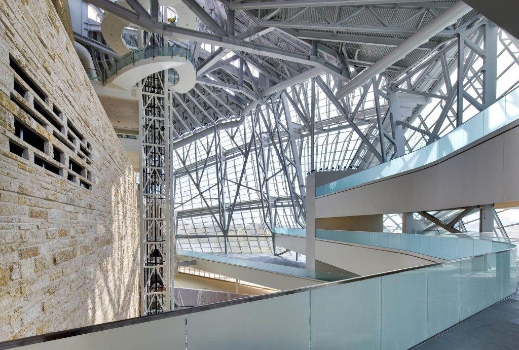 Above is the central atrium of the new Canadian Museum for Human Rights (CMHR) in Winnipeg. In achieving the nature-inspired forms, the project involved copious structural steel, modelling technology, and close collaboration.