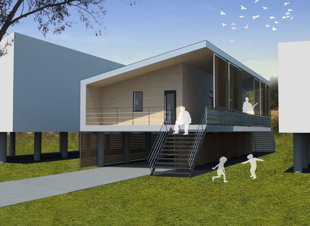 Toronto architects win new orleans passive house design for Low building cost house plans