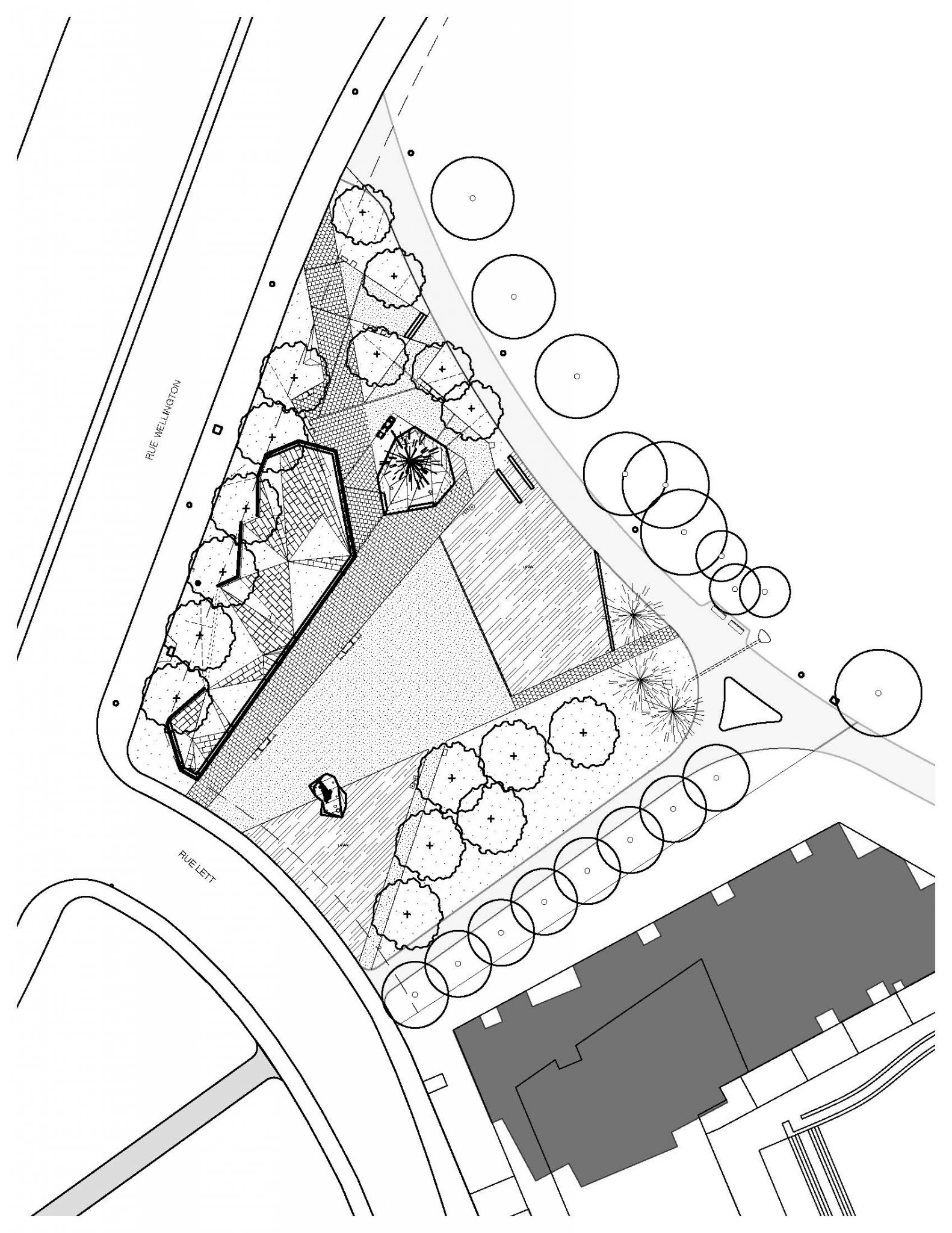 The site plan of the Canadian Firefi ghters Memorial and ground improvements.