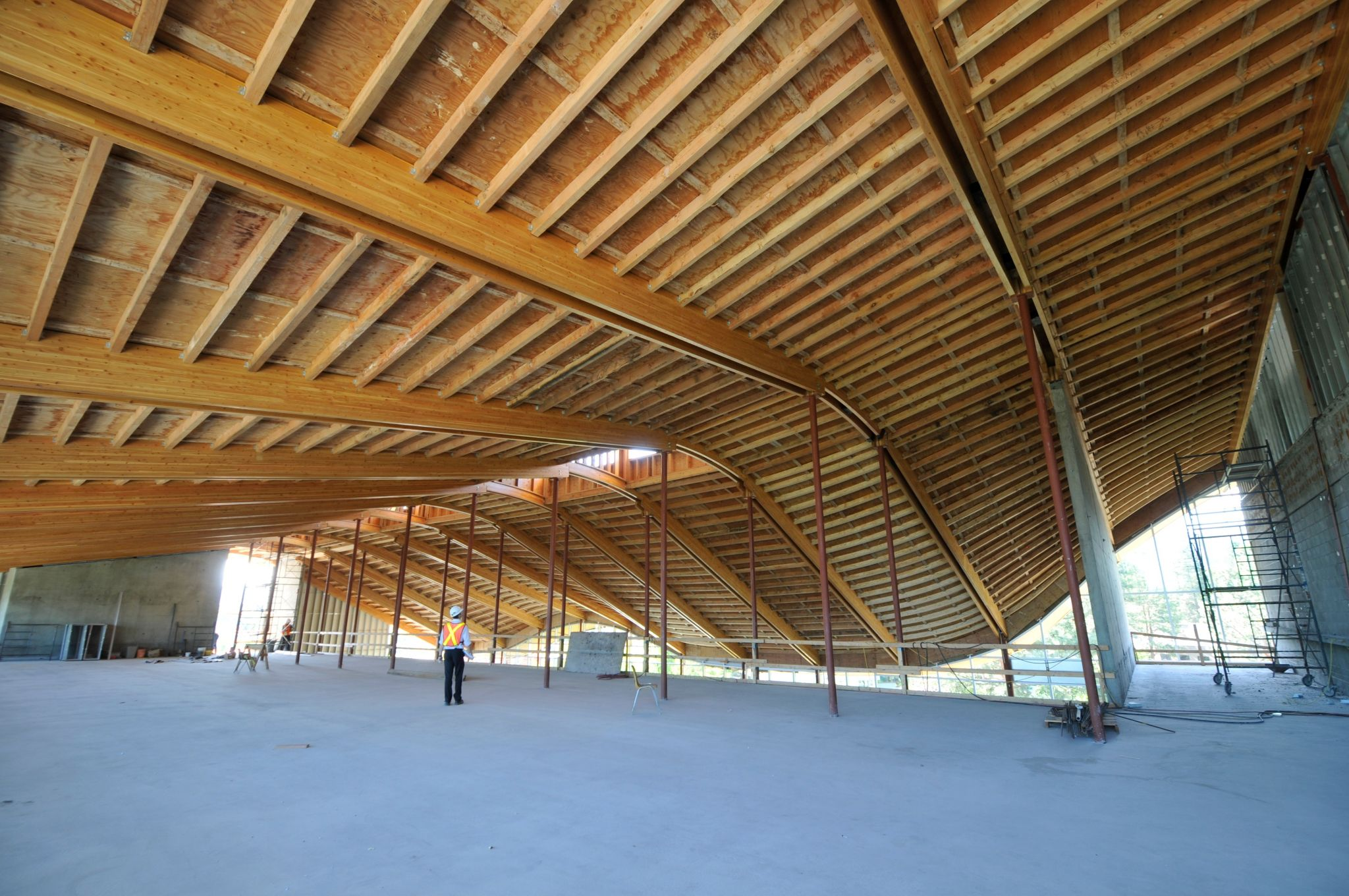 University builds up with timber addition the first for Prefab roof