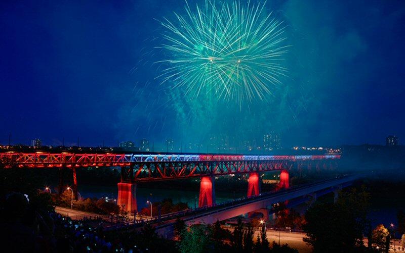 The High Level Bridge's 50,000 colour-changing light emitting diodes (LEDs) were unveiled on Canada Day in Edmonton. Photo courtesy Lumenpulse Inc.