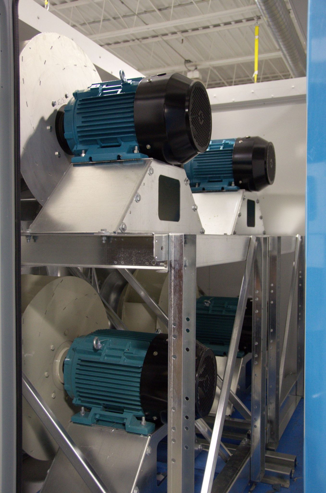Direct-drive plenum fans, such as these in a dehumidifi er, connect the motor directly to the fan shaft, eliminating friction, noise, maintenance, and power-transfer ineffi ciencies associated with traditional belt-driven fans. As a result, a direct-drive, plenumstyle fan uses considerably less energy compared to a belt drive.