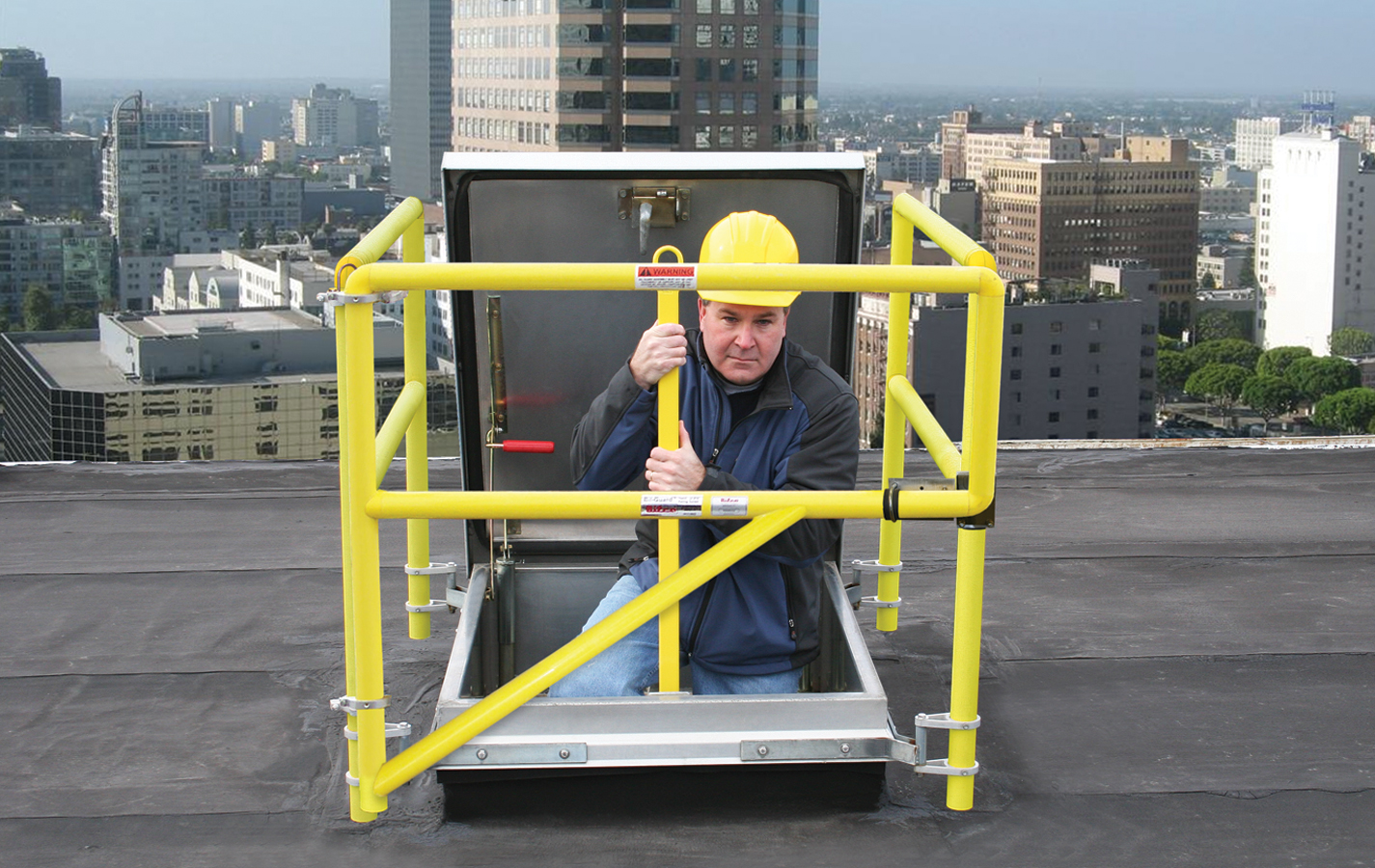 Fixed hatch railing systems provide a permanent means of fall protection for roof hatch openings.