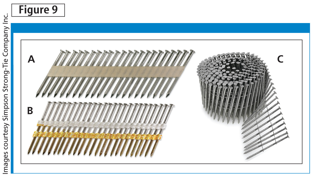 Examples of collated nails for power-driving tools including 33-degree paper tape (A), 21-degree plastic strip (B), and 15-degree coil (C). Other forms of collation for nails not shown here include wire-weld stick nails.