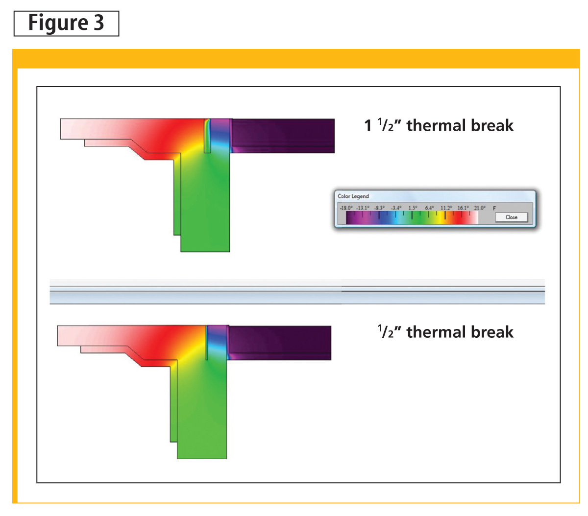 Two foundation options at grade showing a typical thermal break in a wall.