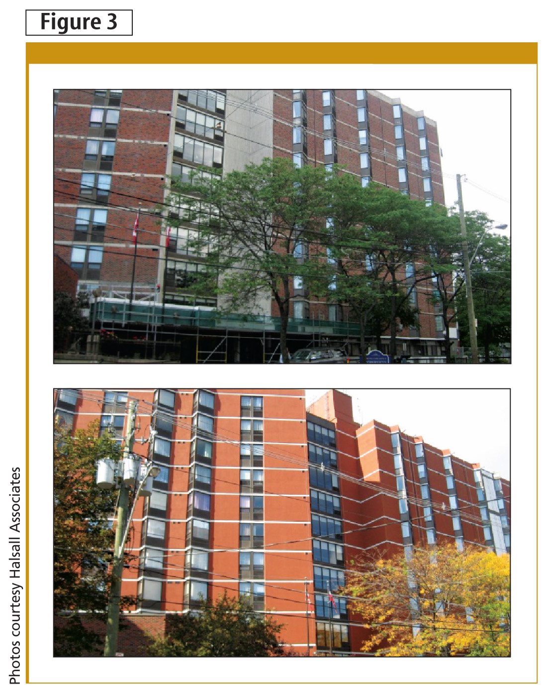 This residential brick-clad building in Toronto (top) was over-clad with exterior insulation and fi nishing systems (EIFS), as shown on the bottom. The fi nish coat was designed to mimic the original brick and exposed fl oor slabs. This building does not have heritage designation, so adding insulation on the exterior was feasible and cost-effective.
