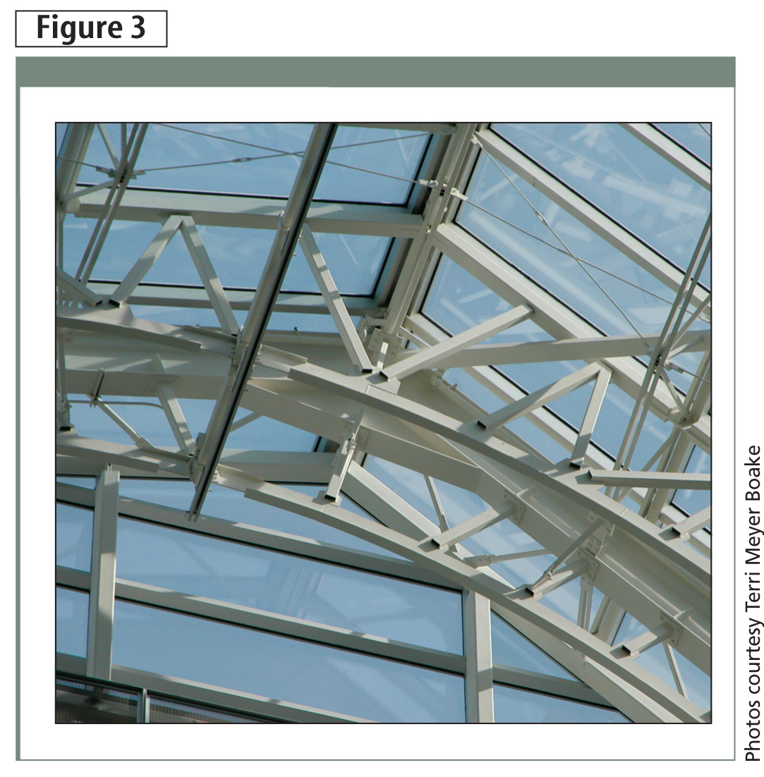 AESS 2 is used on high-level structures, like this skylight in Les Ailes (Montréal), that are distant from view. The detailing is esthetically motivated, but precludes expensive fabrication that might require grinding.