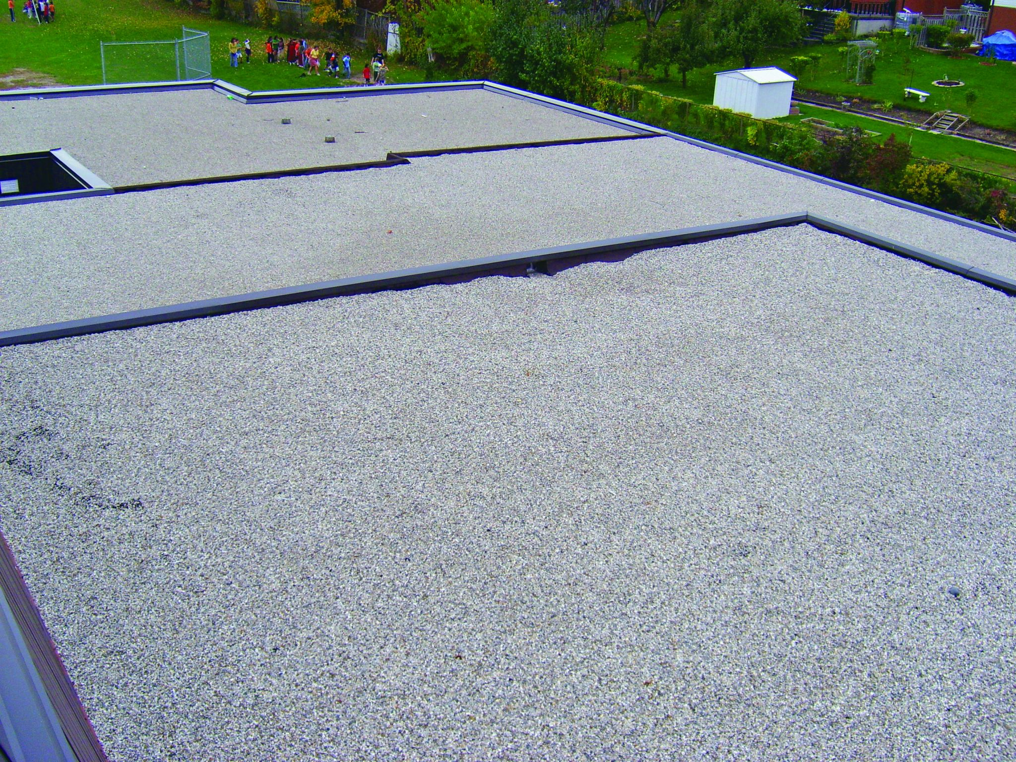 Along with being esthetically pleasing, a pea-gravelled built-up roof (BUR) system provides a highly flame resistant and tough surface.