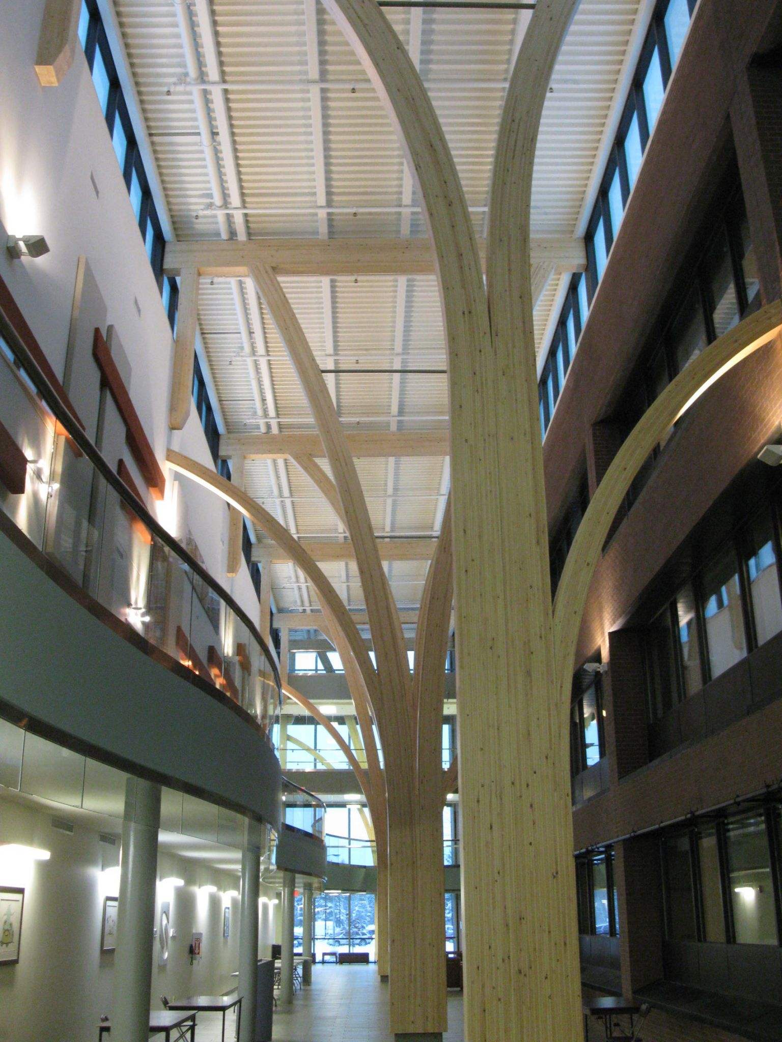 Glued-laminated (glulam) timber, protected by early-suppression, fastresponse (ESFR) sprinklers, was specifi ed for Confederation College (Thunder Bay, Ont.), designed by Form Architecture Engineering.